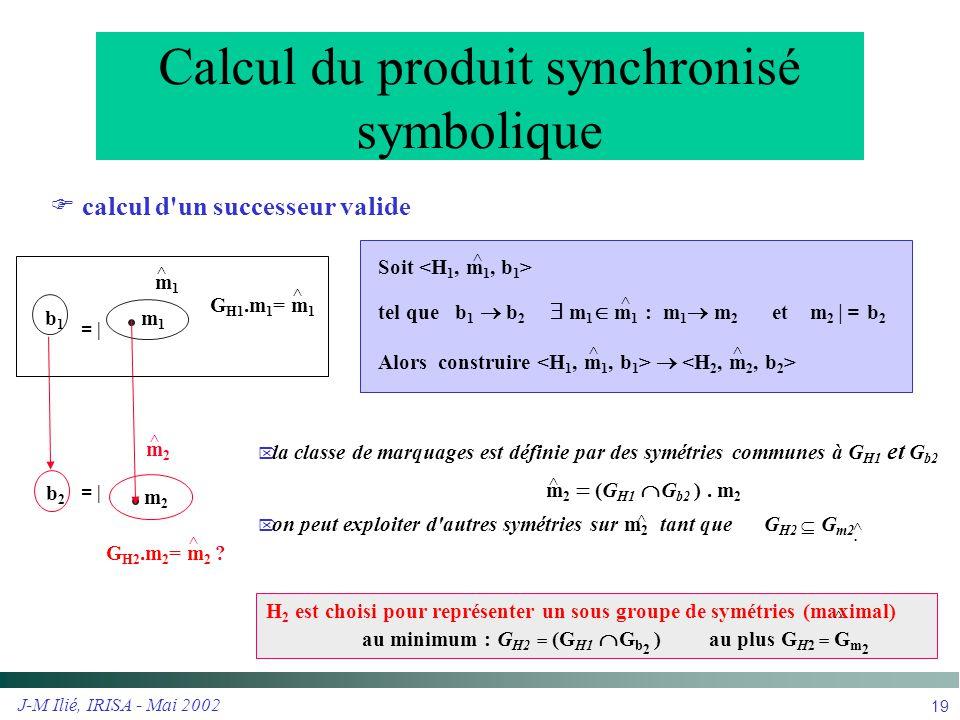J-M Ilié, IRISA - Mai 2002 19  la classe de marquages est définie par des symétries communes à G H1 et G b2 m 2  (G H1  G b2 ). m 2  on peut expl