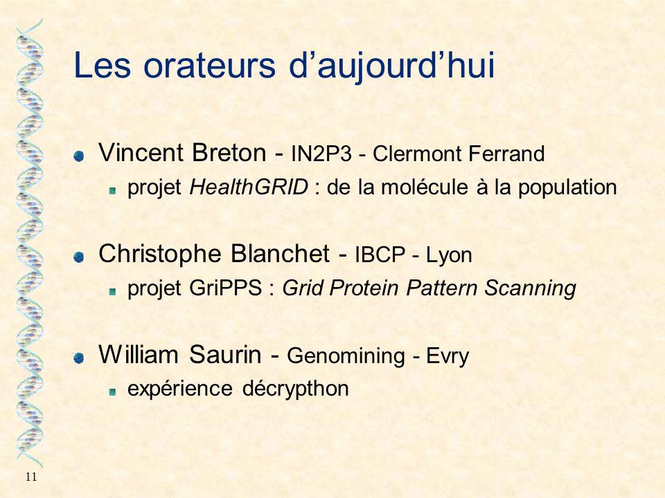 11 Les orateurs d'aujourd'hui Vincent Breton - IN2P3 - Clermont Ferrand projet HealthGRID : de la molécule à la population Christophe Blanchet - IBCP