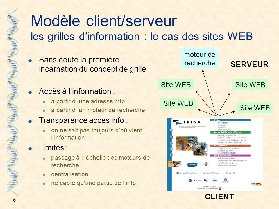 7 Modèle client/serveur les grilles de stockage : le cas Napster Entre le client et le P2P accès à un site unique contenant un index Stockage de données Partage des données Limites : plutôt client / serveur serveur « vulnérable » par les tribunaux ou par d'autres...