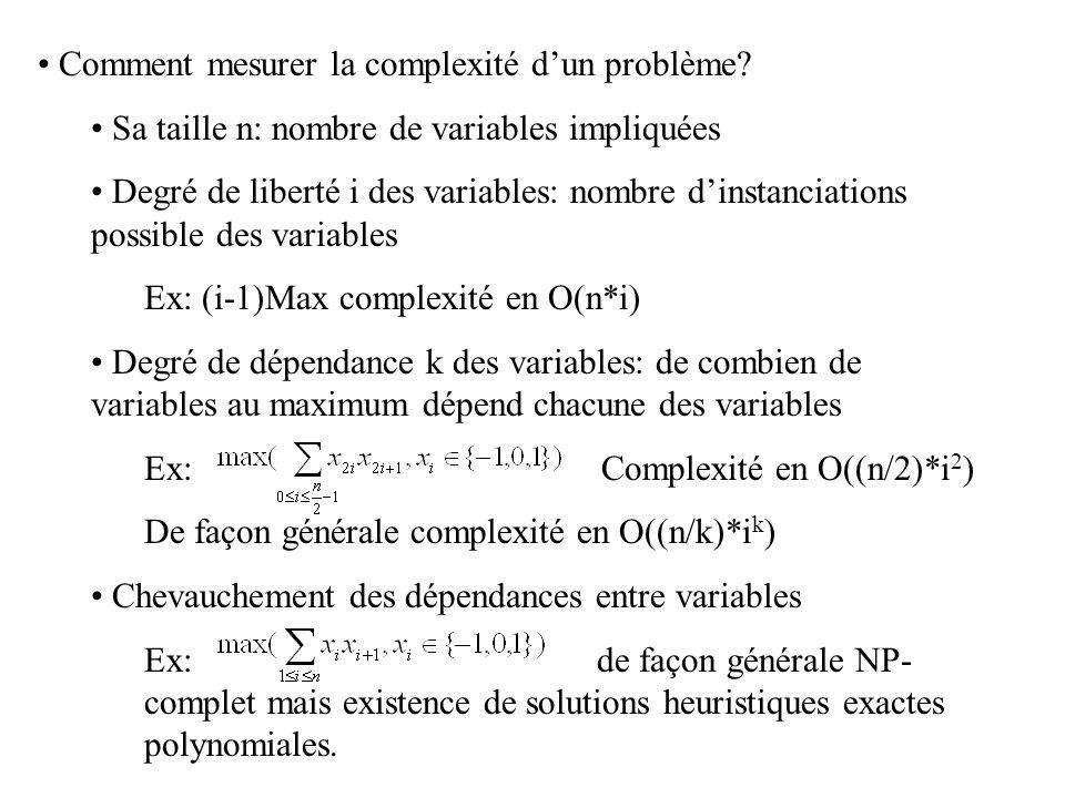 Comment mesurer la complexité d'un problème? Sa taille n: nombre de variables impliquées Degré de liberté i des variables: nombre d'instanciations pos