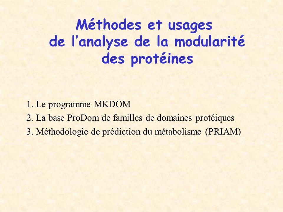 Méthodes et usages de l'analyse de la modularité des protéines 1. Le programme MKDOM 2. La base ProDom de familles de domaines protéiques 3. Méthodolo
