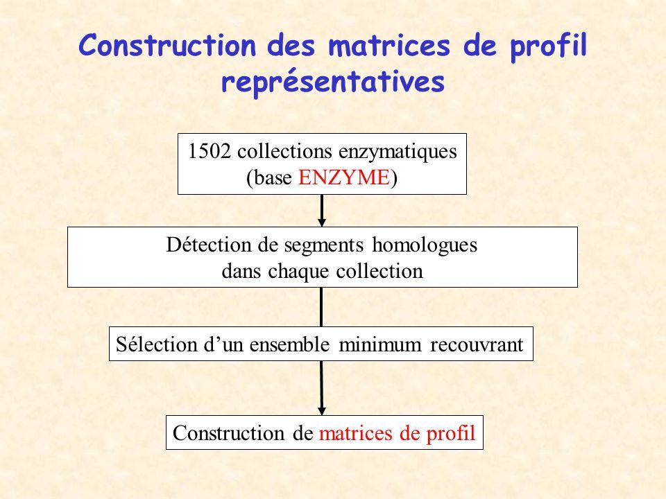 Détection de segments homologues dans chaque collection Sélection d'un ensemble minimum recouvrant Construction de matrices de profil Construction des matrices de profil représentatives 1502 collections enzymatiques (base ENZYME)