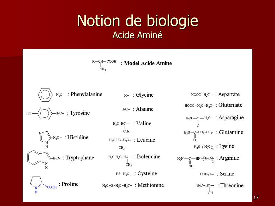 17 Notion de biologie Acide Aminé
