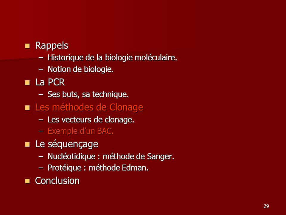 29 Rappels Rappels –Historique de la biologie moléculaire.