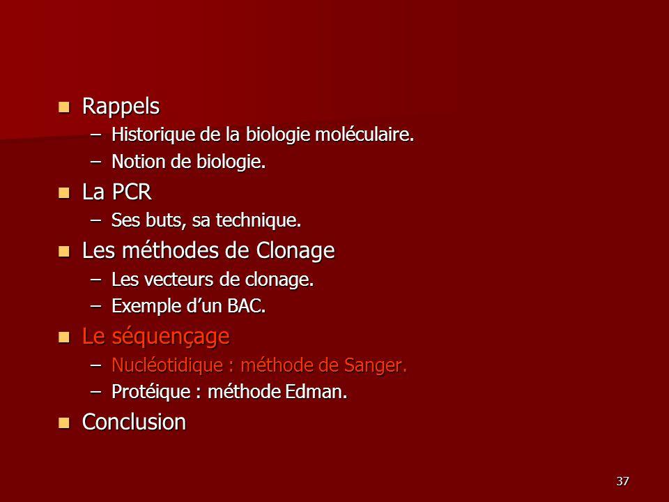 37 Rappels Rappels –Historique de la biologie moléculaire.
