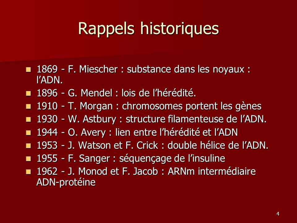 4 Rappels historiques 1869 - F. Miescher : substance dans les noyaux : l'ADN. 1869 - F. Miescher : substance dans les noyaux : l'ADN. 1896 - G. Mendel