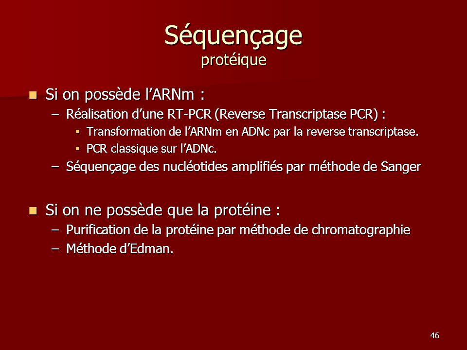 46 Séquençage protéique Si on possède l'ARNm : Si on possède l'ARNm : –Réalisation d'une RT-PCR (Reverse Transcriptase PCR) :  Transformation de l'ARNm en ADNc par la reverse transcriptase.