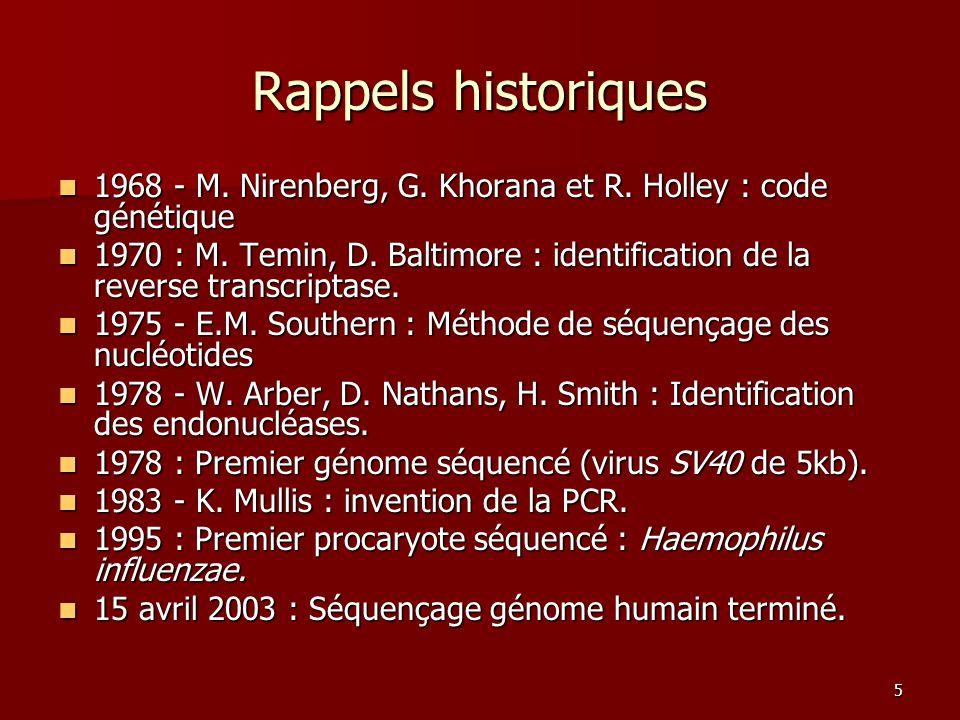 5 Rappels historiques 1968 - M. Nirenberg, G. Khorana et R. Holley : code génétique 1968 - M. Nirenberg, G. Khorana et R. Holley : code génétique 1970