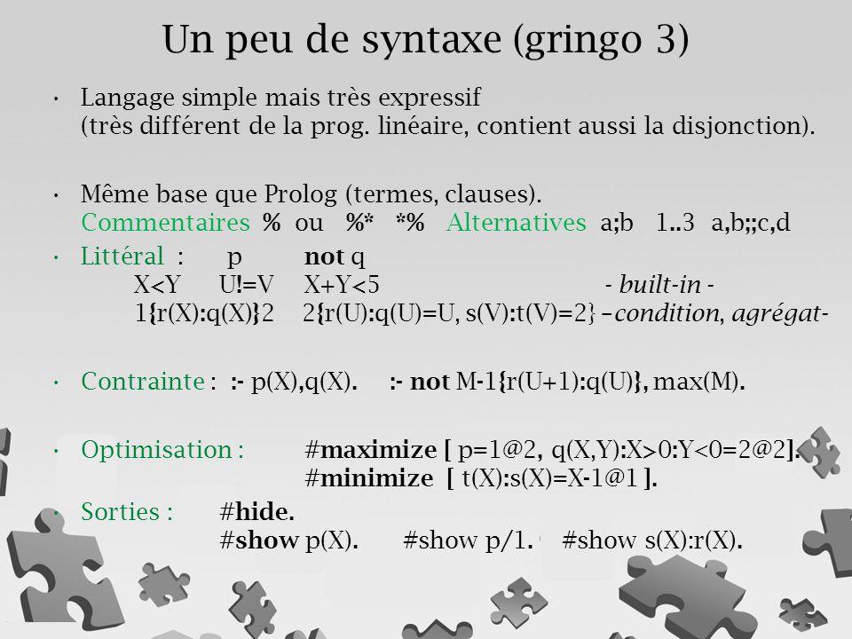 Langage simple mais très expressif (très différent de la prog. linéaire, contient aussi la disjonction). Même base que Prolog (termes, clauses). Comme