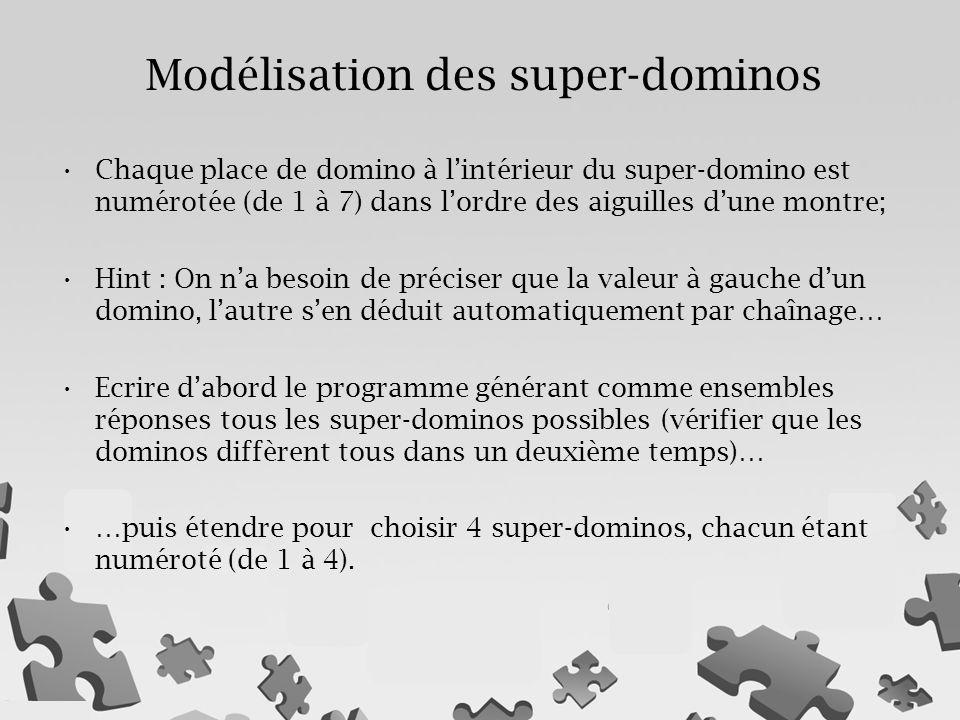 Chaque place de domino à l'intérieur du super-domino est numérotée (de 1 à 7) dans l'ordre des aiguilles d'une montre; Hint : On n'a besoin de préciser que la valeur à gauche d'un domino, l'autre s'en déduit automatiquement par chaînage… Ecrire d'abord le programme générant comme ensembles réponses tous les super-dominos possibles (vérifier que les dominos diffèrent tous dans un deuxième temps)… …puis étendre pour choisir 4 super-dominos, chacun étant numéroté (de 1 à 4).