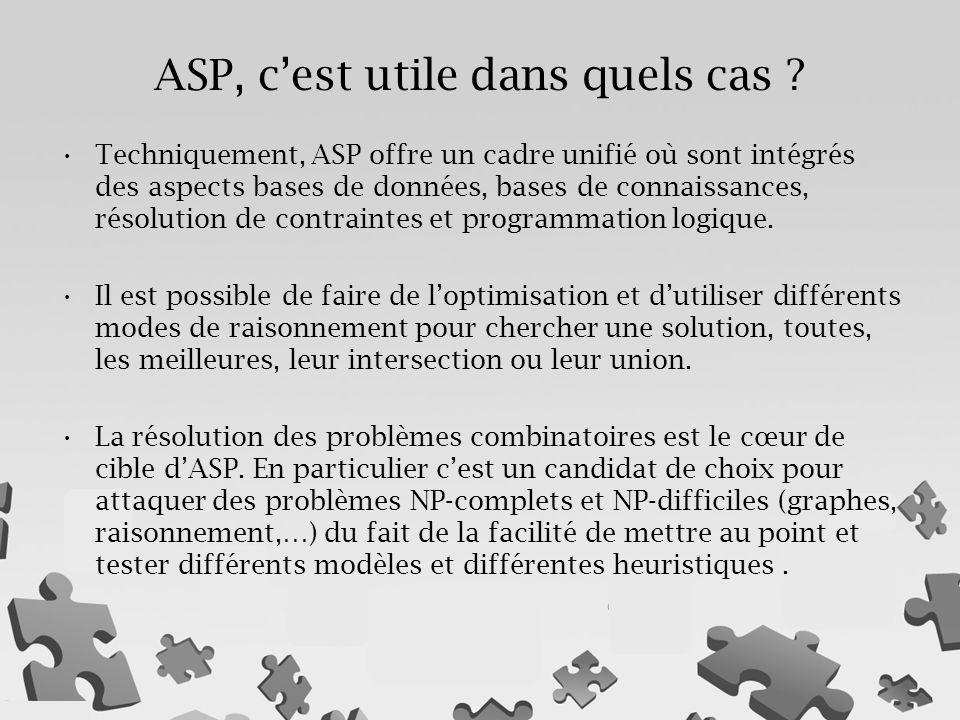 Techniquement, ASP offre un cadre unifié où sont intégrés des aspects bases de données, bases de connaissances, résolution de contraintes et programmation logique.