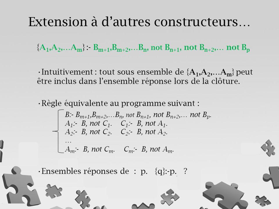 {A 1,A 2,…A m } :- B m+1,B m+2,…B n, not B n+1, not B n+2,… not B p Intuitivement : tout sous ensemble de {A 1,A 2,…A m } peut être inclus dans l'ense