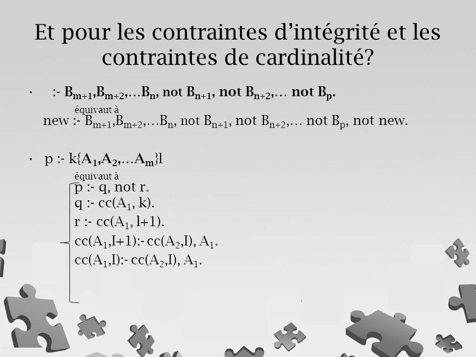 :- B m+1,B m+2,…B n, not B n+1, not B n+2,… not B p. équivaut à new :- B m+1,B m+2,…B n, not B n+1, not B n+2,… not B p, not new. p :- k{A 1,A 2,…A m
