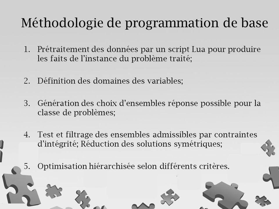 1.Prétraitement des données par un script Lua pour produire les faits de l'instance du problème traité; 2.Définition des domaines des variables; 3.Génération des choix d'ensembles réponse possible pour la classe de problèmes; 4.Test et filtrage des ensembles admissibles par contraintes d'intégrité; Réduction des solutions symétriques; 5.Optimisation hiérarchisée selon différents critères.