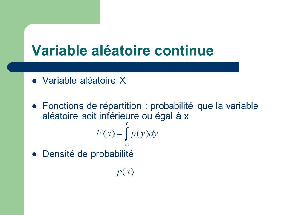Variable aléatoire continue Variable aléatoire X Fonctions de répartition : probabilité que la variable aléatoire soit inférieure ou égal à x Densité de probabilité