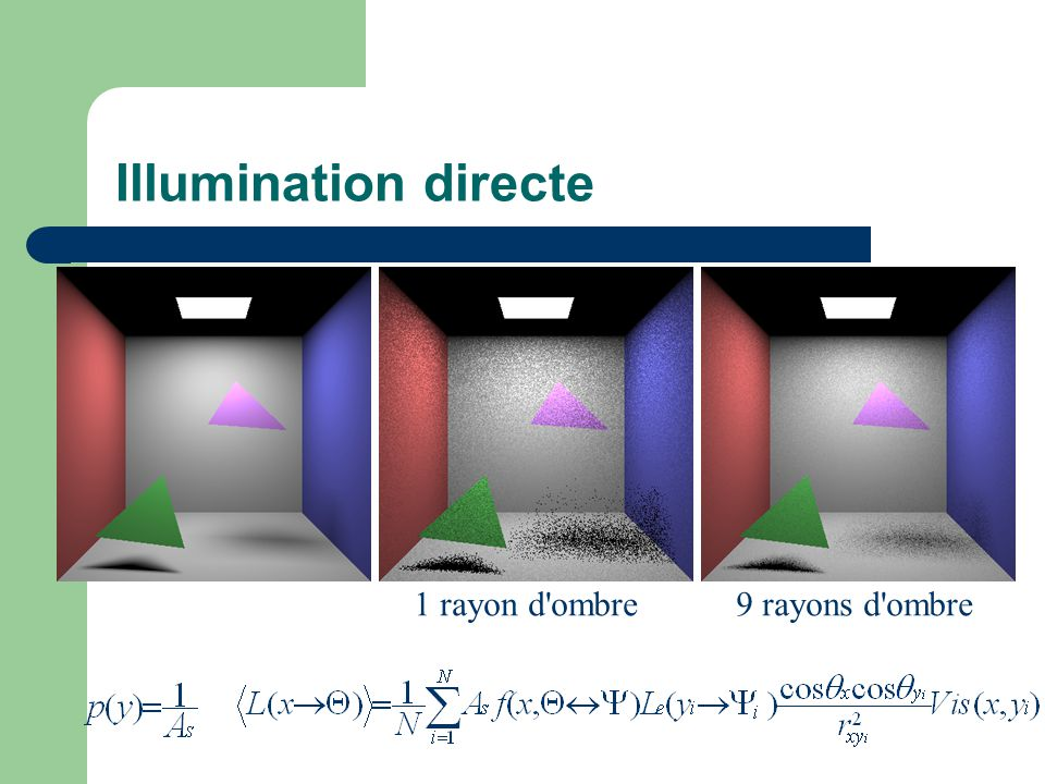 Illumination directe 1 rayon d'ombre9 rayons d'ombre
