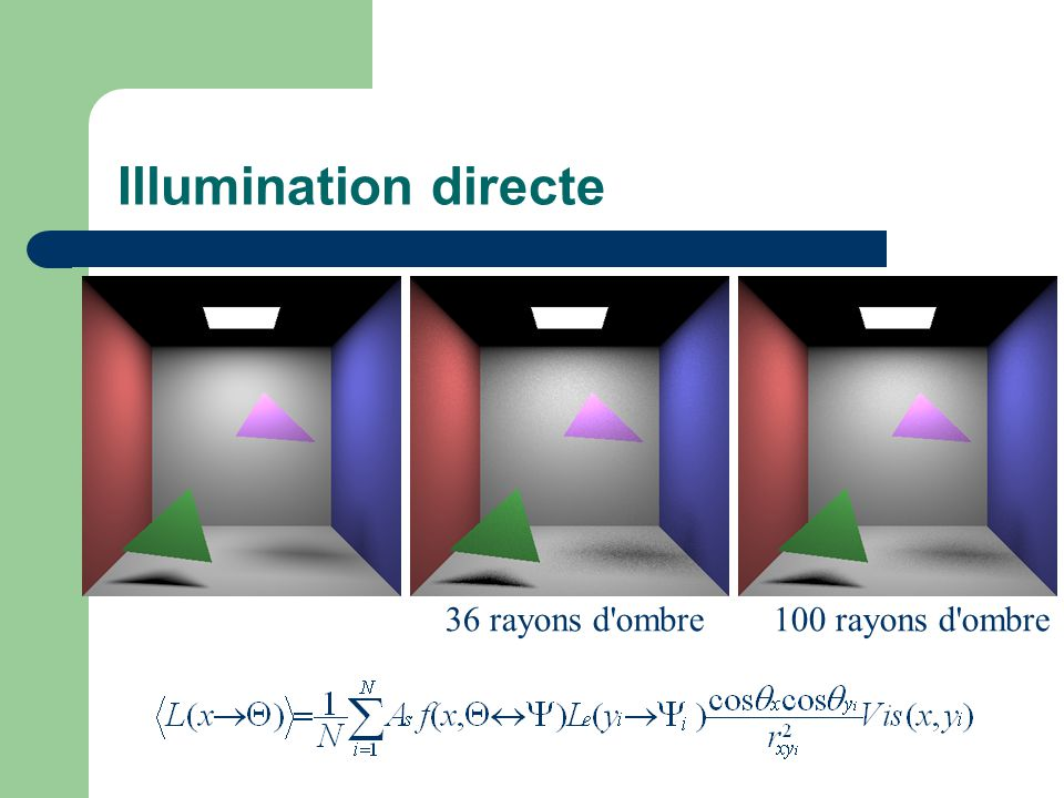 Illumination directe 36 rayons d ombre100 rayons d ombre