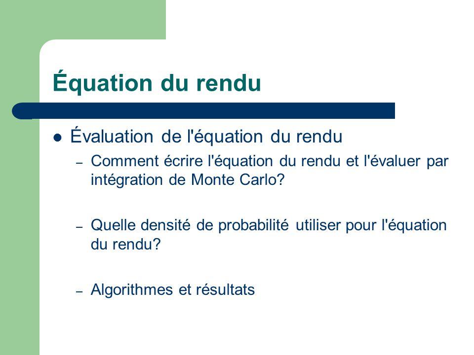Équation du rendu Évaluation de l équation du rendu – Comment écrire l équation du rendu et l évaluer par intégration de Monte Carlo.
