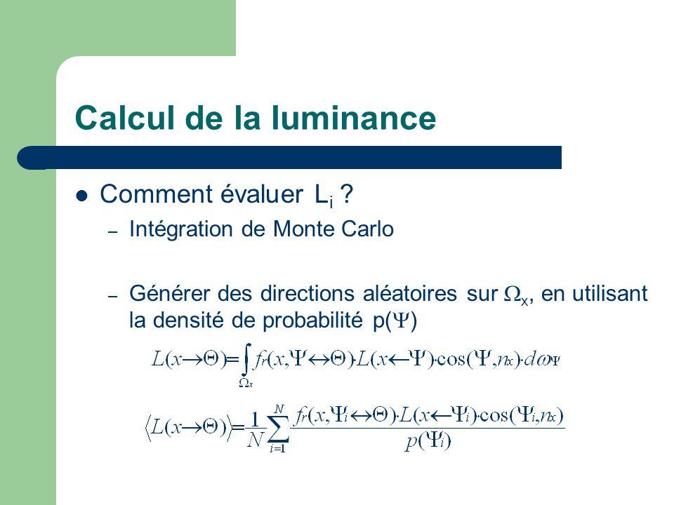Calcul de la luminance Comment évaluer L i ? – Intégration de Monte Carlo – Générer des directions aléatoires sur  x, en utilisant la densité de prob