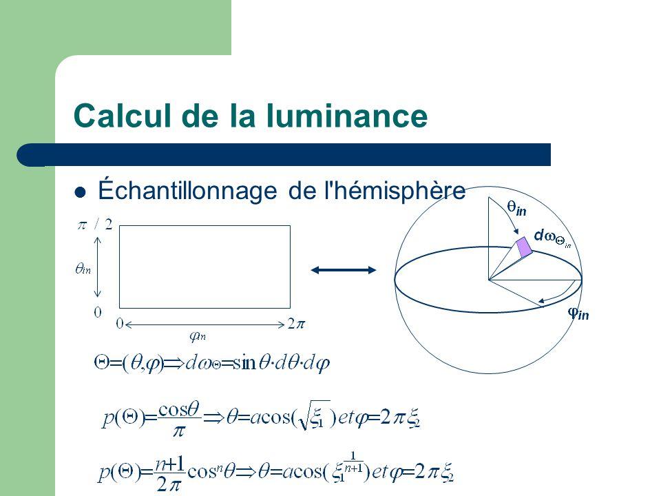 Calcul de la luminance Échantillonnage de l'hémisphère