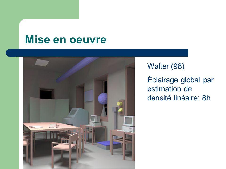 Mise en oeuvre Walter (98) Éclairage global par estimation de densité linéaire: 8h