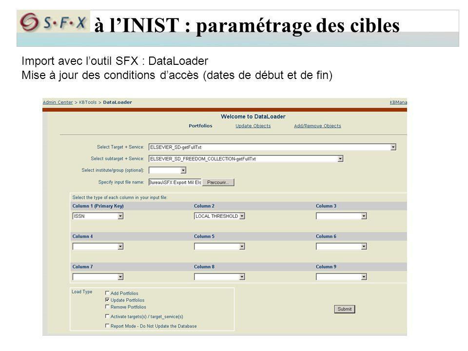 à l'INIST : paramétrage des cibles Import avec l'outil SFX : DataLoader Mise à jour des conditions d'accès (dates de début et de fin)