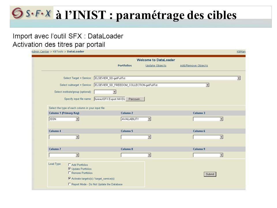 à l'INIST : paramétrage des cibles Import avec l'outil SFX : DataLoader Activation des titres par portail
