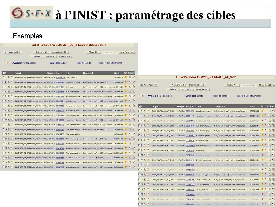 à l'INIST : paramétrage des cibles Exemples