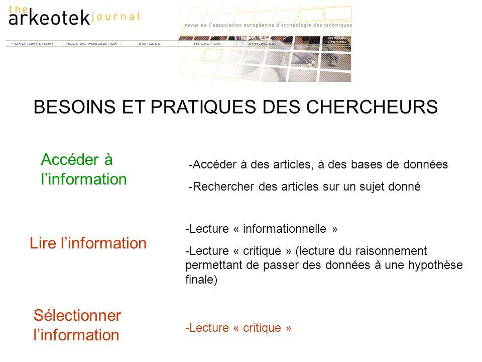 Accéder à l'information -Lecture « informationnelle » -Lecture « critique » (lecture du raisonnement permettant de passer des données à une hypothèse