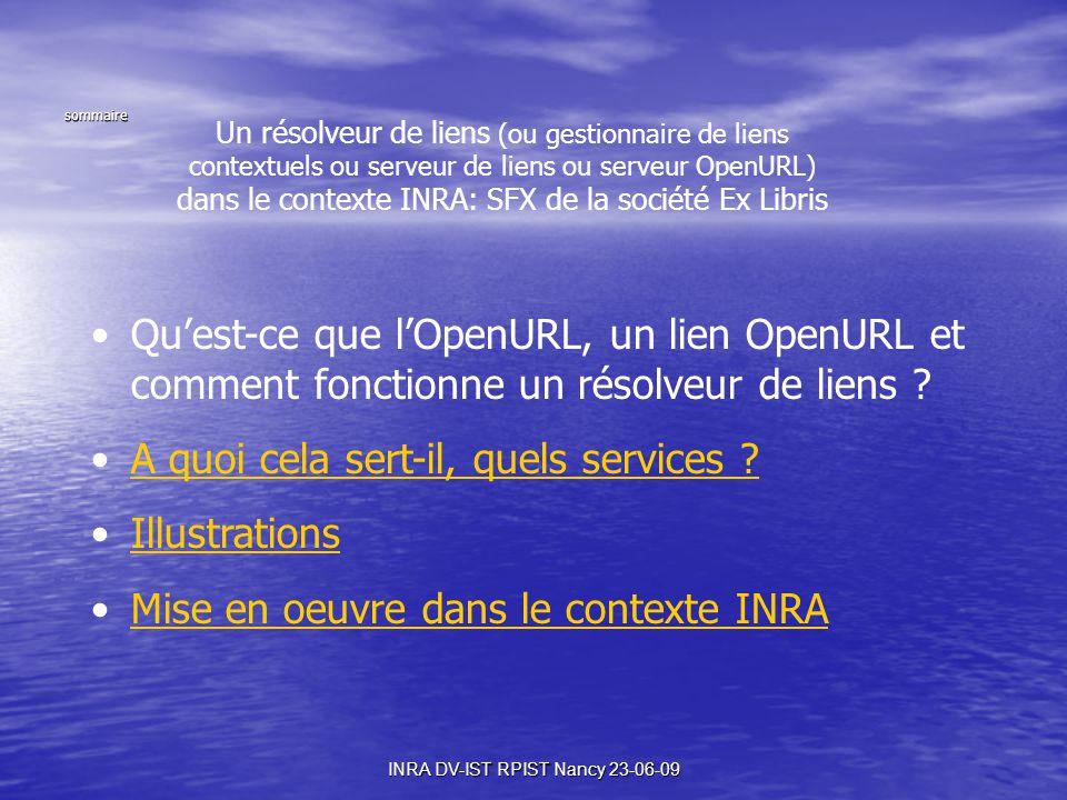 INRA DV-IST RPIST Nancy 23-06-09 Un résolveur de liens (ou gestionnaire de liens contextuels ou serveur de liens ou serveur OpenURL) dans le contexte INRA: SFX de la société Ex Libris Qu'est-ce que l'OpenURL, un lien OpenURL et comment fonctionne un résolveur de liens .
