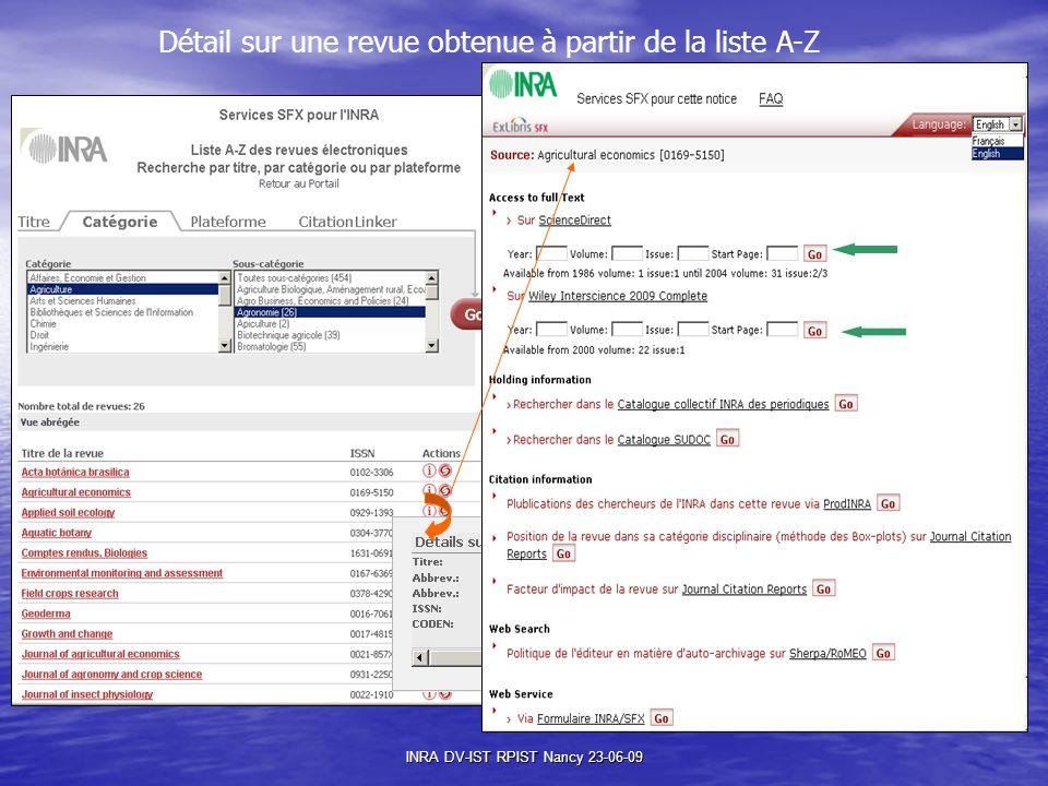 INRA DV-IST RPIST Nancy 23-06-09 Détail sur une revue obtenue à partir de la liste A-Z