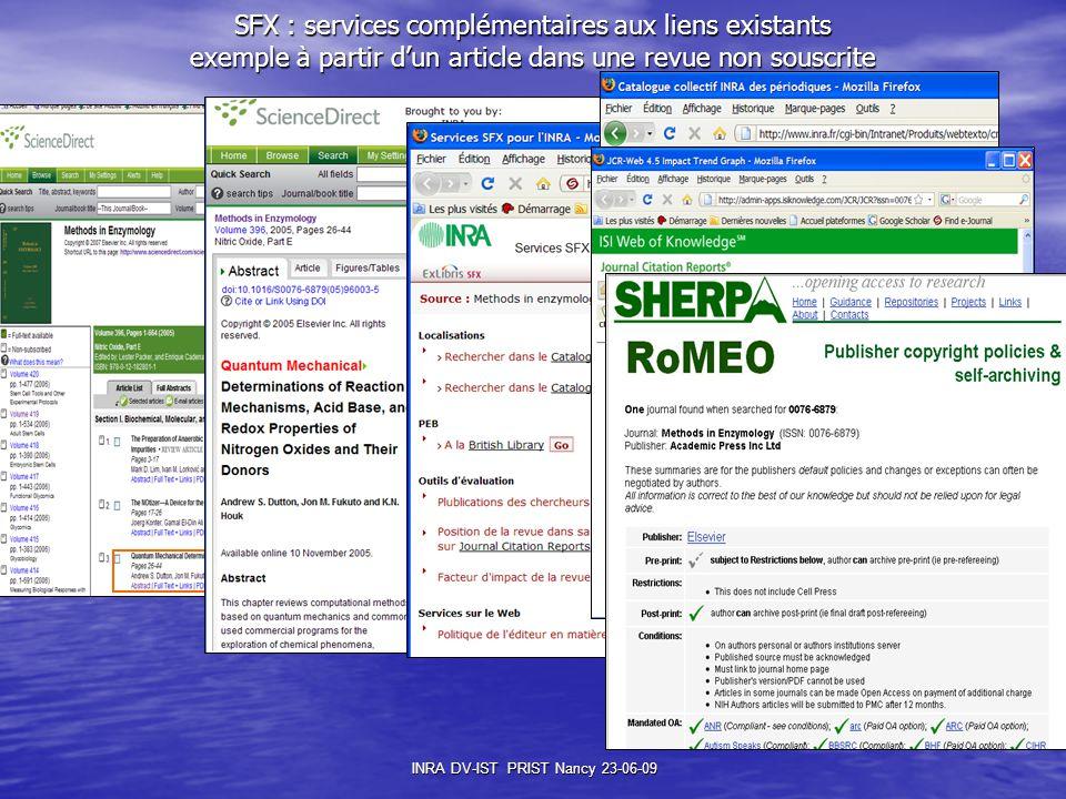 INRA DV-IST PRIST Nancy 23-06-09 SFX : services complémentaires aux liens existants exemple à partir d'un article dans une revue non souscrite