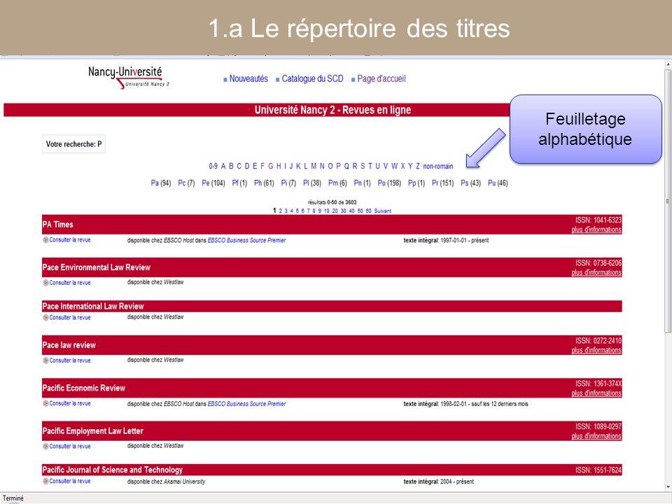 [ Fédération Nancy-Université] [ 2006 – 2007] 11 Feuilletage alphabétique 1.a Le répertoire des titres