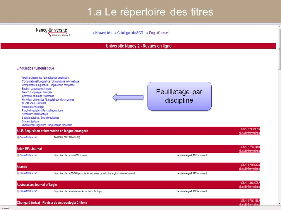 [ Fédération Nancy-Université] [ 2006 – 2007] 12 Feuilletage par discipline 1.a Le répertoire des titres
