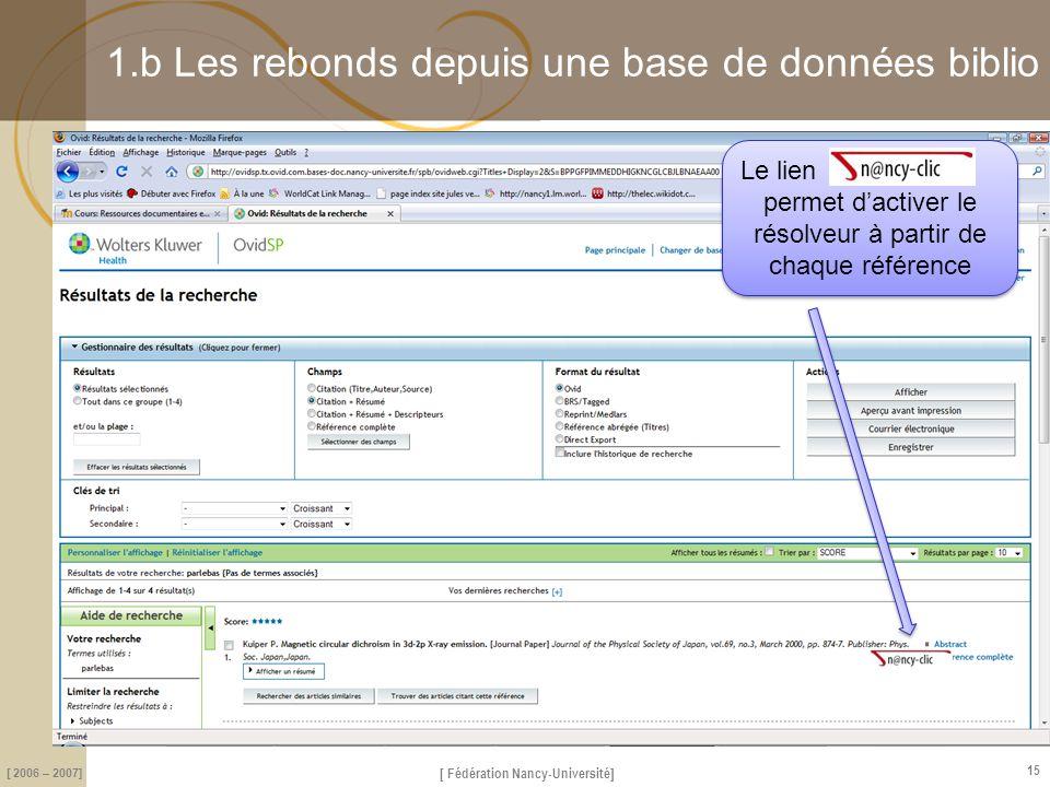 [ Fédération Nancy-Université] [ 2006 – 2007] 15 1.b Les rebonds depuis une base de données biblio Le lien permet d'activer le résolveur à partir de c