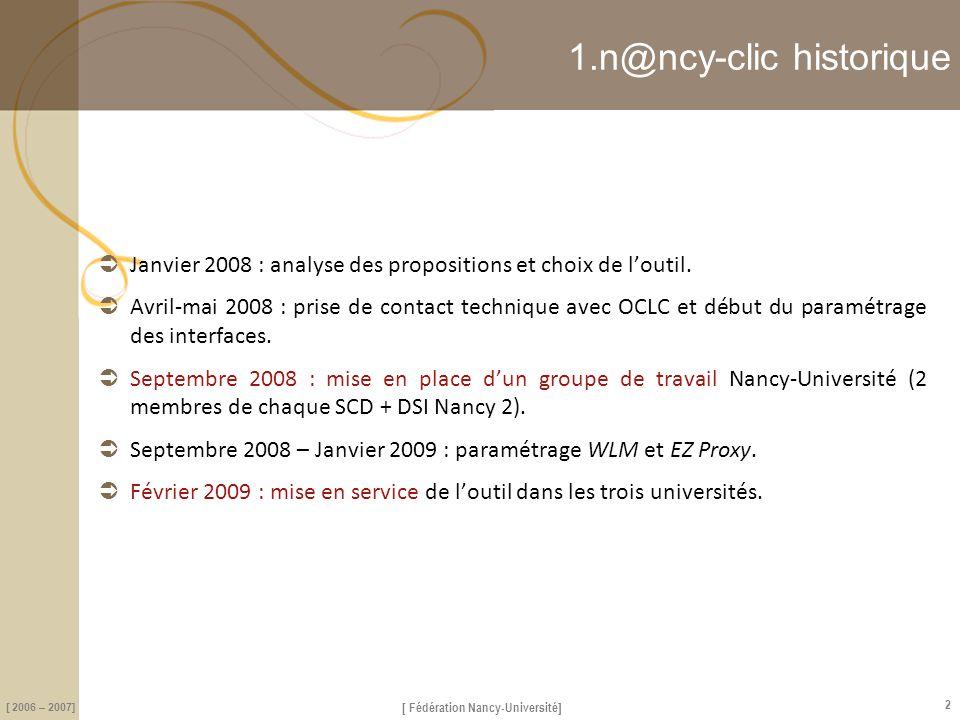 [ Fédération Nancy-Université] [ 2006 – 2007] 2 1.n@ncy-clic historique  Janvier 2008 : analyse des propositions et choix de l'outil.  Avril-mai 200
