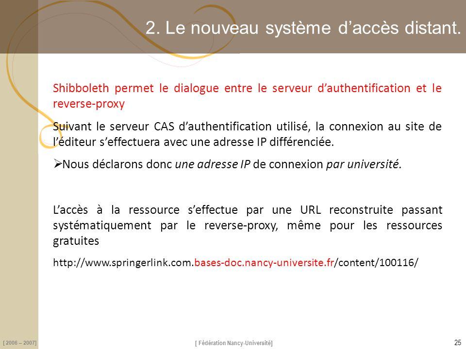 [ Fédération Nancy-Université] [ 2006 – 2007] 2. Le nouveau système d'accès distant. Shibboleth permet le dialogue entre le serveur d'authentification