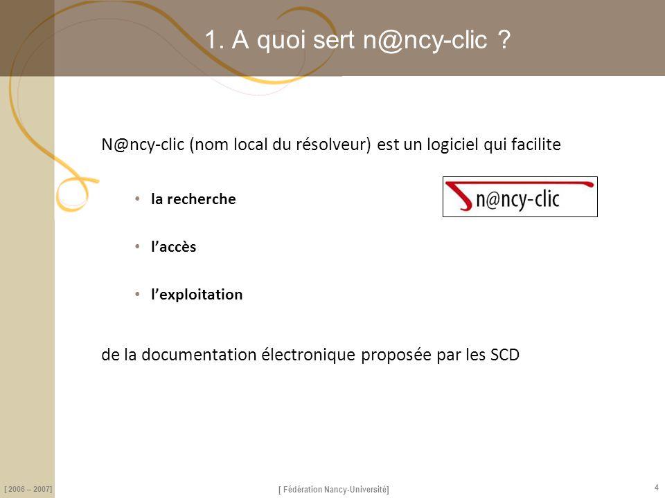 [ Fédération Nancy-Université] [ 2006 – 2007] 15 1.b Les rebonds depuis une base de données biblio Le lien permet d'activer le résolveur à partir de chaque référence Le lien permet d'activer le résolveur à partir de chaque référence