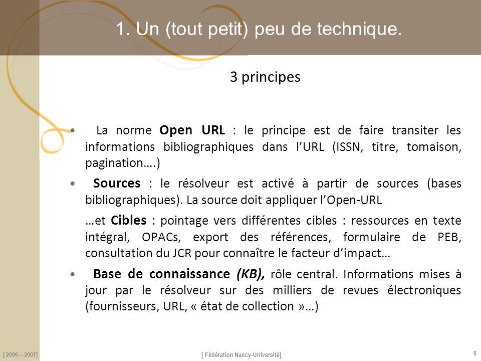 [ Fédération Nancy-Université] [ 2006 – 2007] 7 1.