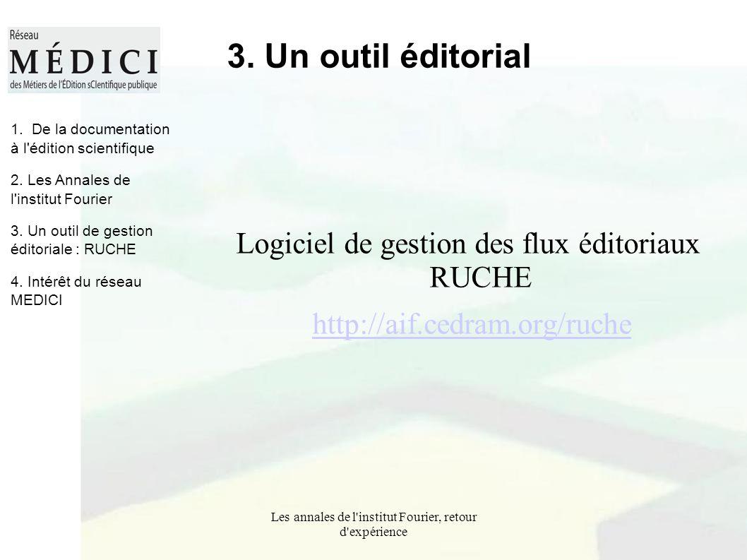 Les annales de l'institut Fourier, retour d'expérience 3. Un outil éditorial Logiciel de gestion des flux éditoriaux RUCHE http://aif.cedram.org/ruche
