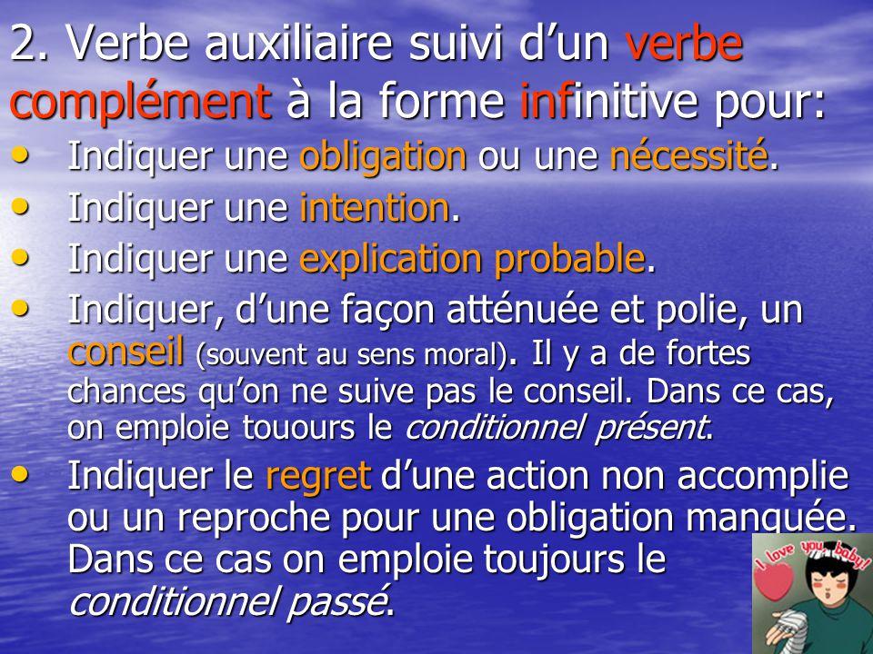 2. Verbe auxiliaire suivi d'un verbe complément à la forme infinitive pour: Indiquer une obligation ou une nécessité. Indiquer une obligation ou une n