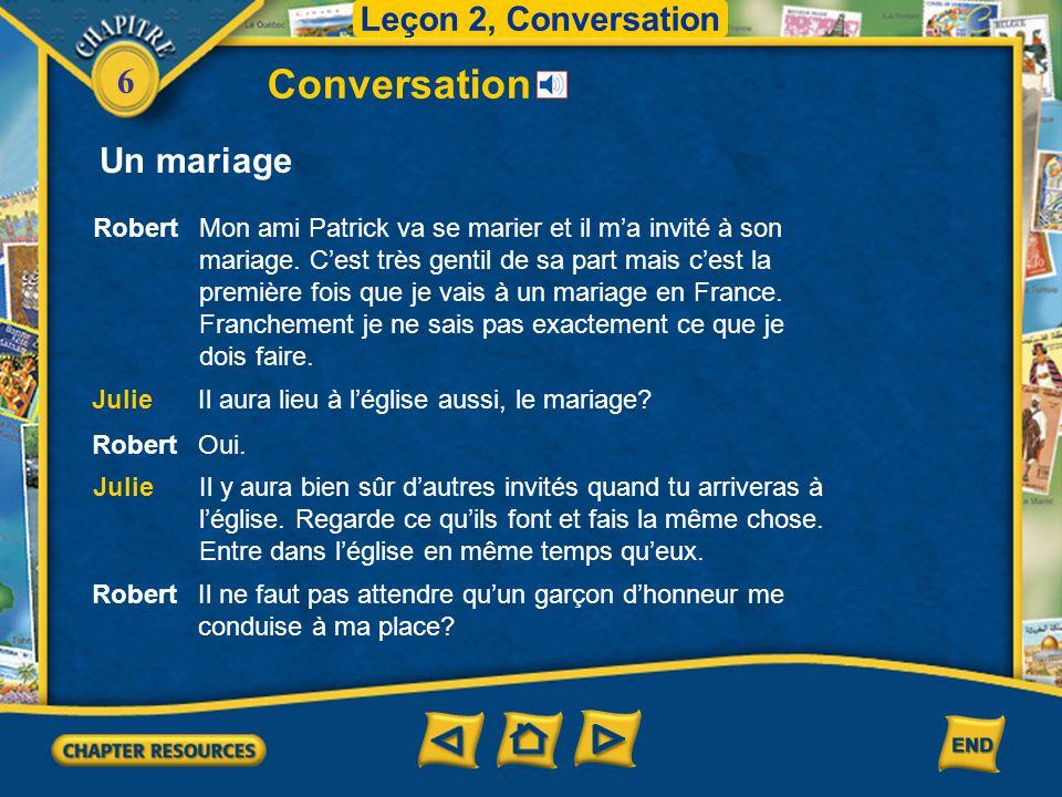 6 Conversation Leçon 2, Conversation Un mariage