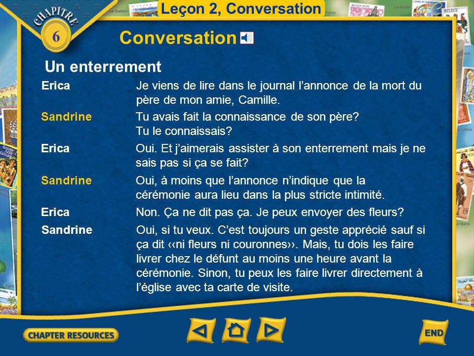 6 Conversation Leçon 2, Conversation Un enterrement