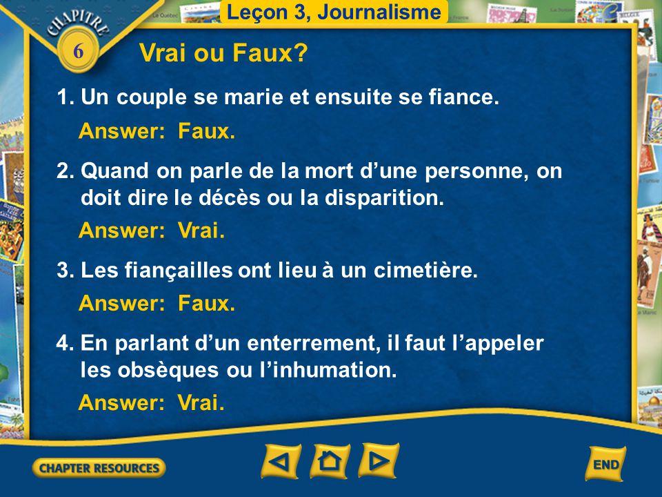 6 Le carnet du jour Leçon 3, Journalisme Quand on parle de la mort d'une personne, on évite de prononcer certains mots.