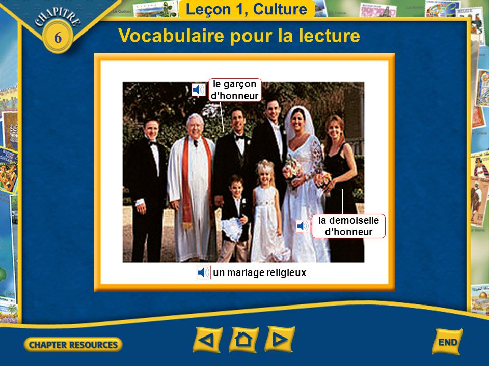 6 monoparental(e)single-parent naîtreto be born prier to pray en hausserising Vocabulaire Leçon 1 Culture (French–English)