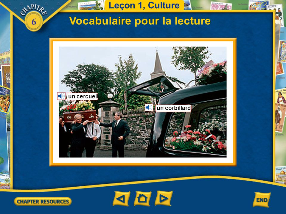 6 Vocabulaire Leçon 3 Journalisme (English–French) les obsèques le papillon le/la pensionnaire le préjugé la salle de jeux aîné(e) ému(e) funeral butterfly boarder, resident prejudice game room older, elder moved (emotionally)