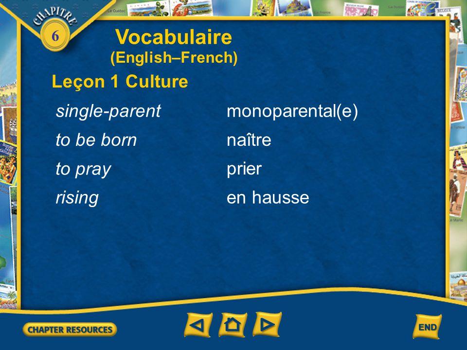 6 Vocabulaire Leçon 1 Culture le prêtre le rabbin le riz le témoin le ruban décoré(e) de enrobé(e) de (English–French) priest rabbi rice witness ribbon decorated with coated with