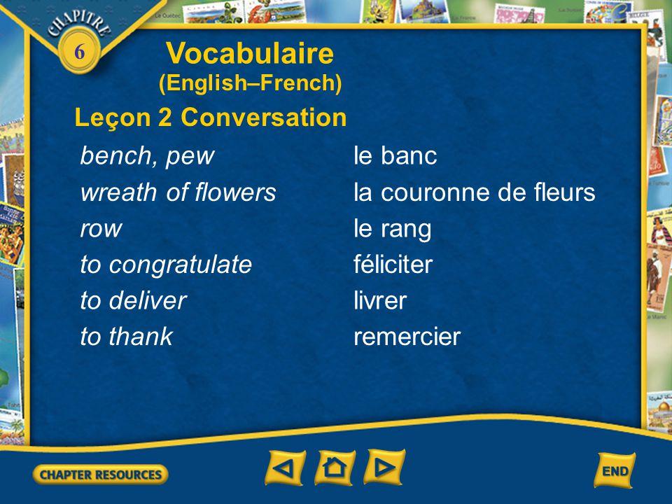 6 Vocabulaire Leçon 1 Culture monoparental(e) naître prier en hausse (English–French) single-parent to be born to pray rising