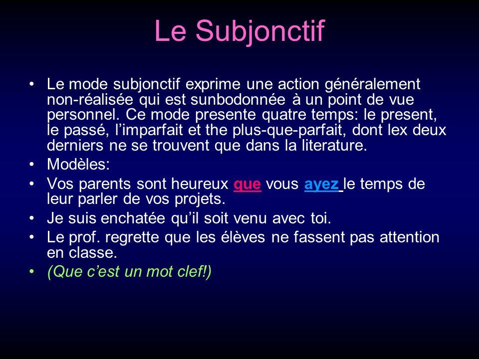 Le Subjonctif Le mode subjonctif exprime une action généralement non-réalisée qui est sunbodonnée à un point de vue personnel.