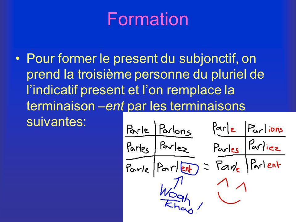 Formation Pour former le present du subjonctif, on prend la troisième personne du pluriel de l'indicatif present et l'on remplace la terminaison –ent par les terminaisons suivantes:
